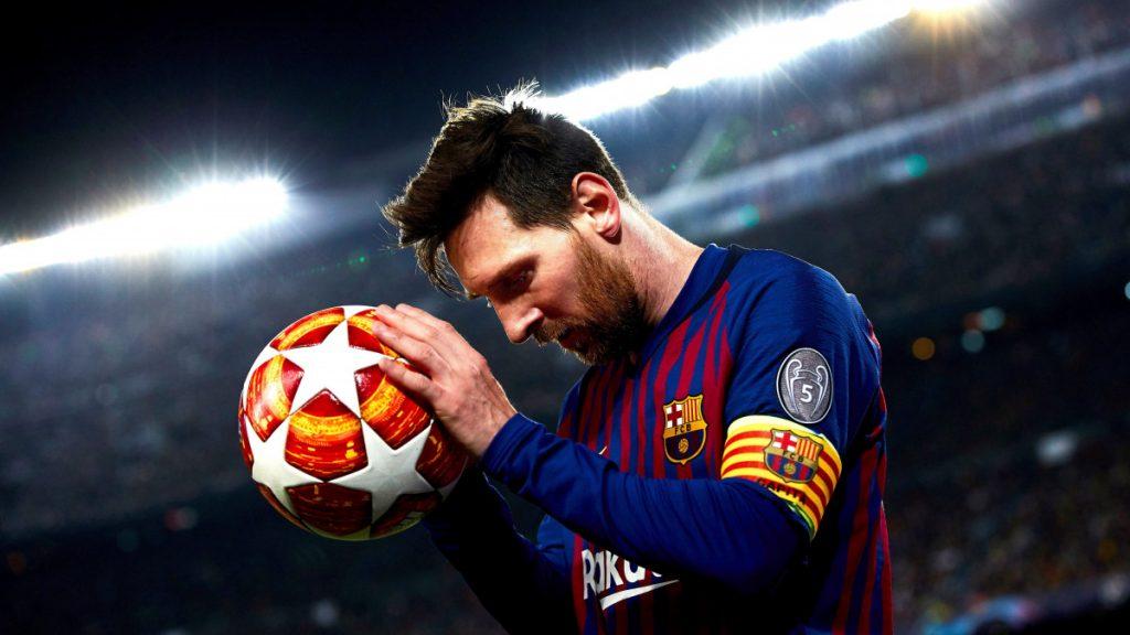 Lionel Messi, az FC Barcelona játékosa a labdarúgó Bajnokok Ligája negyeddöntőjének visszavágó mérkőzésén a barcelonai Camp Nou stadionban 2019. április 16-án. Az FC Barcelona 3-0-ra győzött.