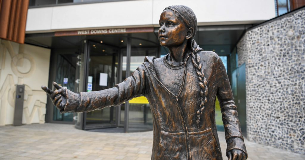 The scandal broke out - outside - a statue of Greta Thunberg was erected