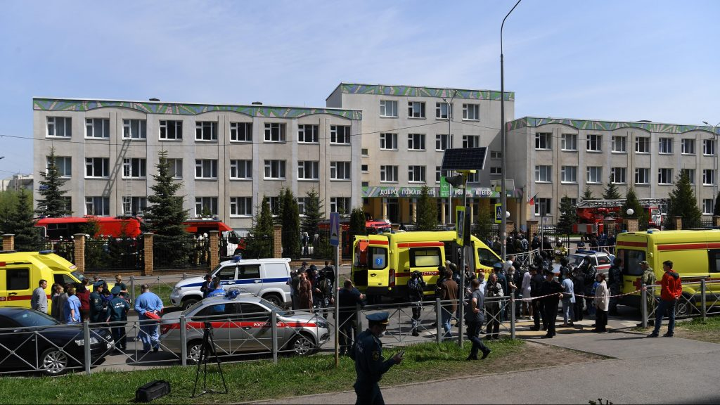 A shooting attack at a school in Kazan, killing at least eight students and a teacher