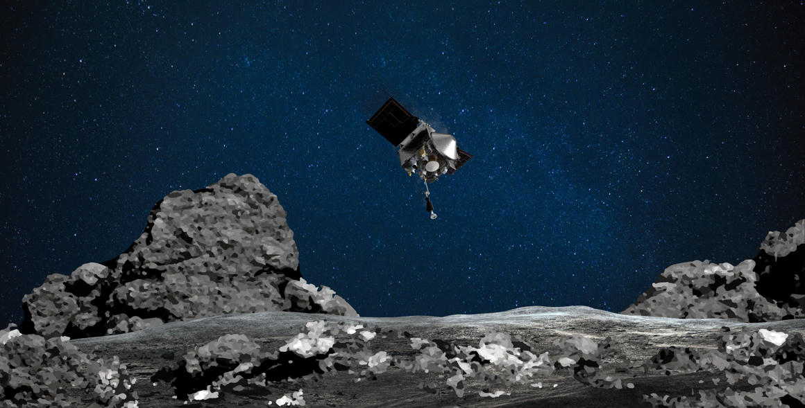 The Osiris-Rex spacecraft blasted home in its stomach with twenty to forty fragments of the slitter asteroid.