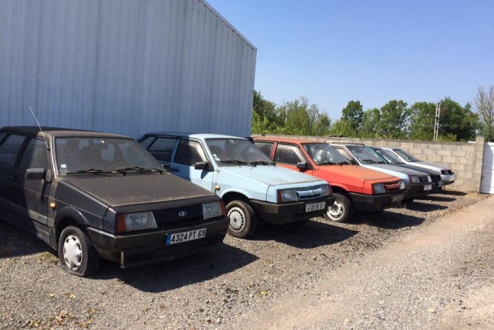 This Lada dealership has been abandoned for years, with new cars inside