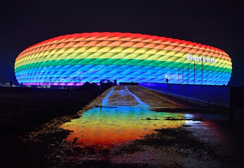 Why is UEFA unlikely to enter the rainbow lighting in the Munich stadium?