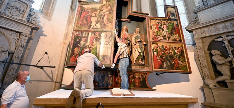 They can find Dürer's painting in a German church flooded with visitors