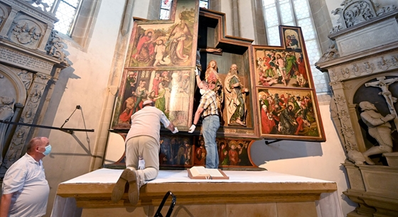 Cult: Dürer's painting can be found in a German church flooded with visitors