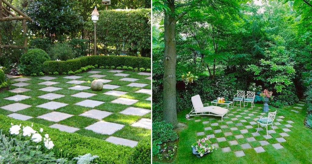In this garden, the grass grows in a betana, but you also have to see the rest: 9 great ideas for a garden with concrete and stone slabs - Home