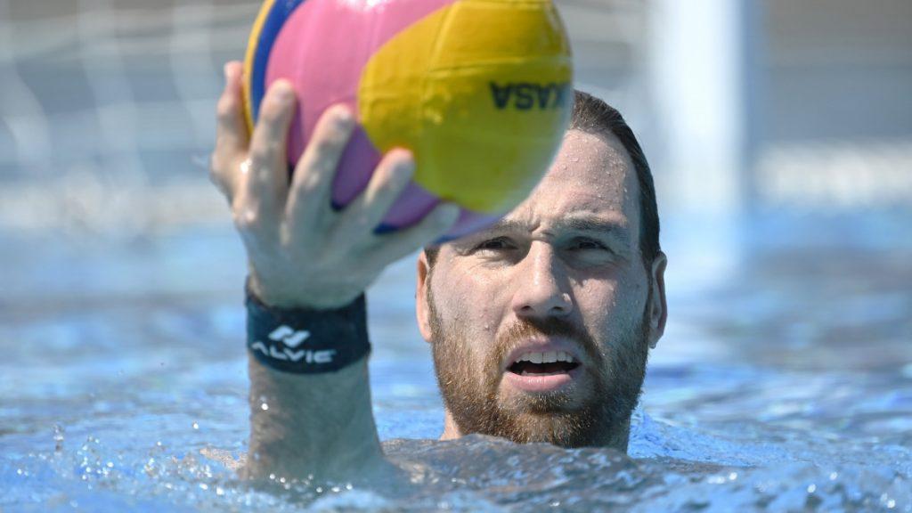 Nagy Viktor kapus a tokiói olimpiára készülő magyar férfi vízilabda-válogatott edzésén a Hajós Alfréd Nemzeti Sportuszodában 2021. június 1-jén.