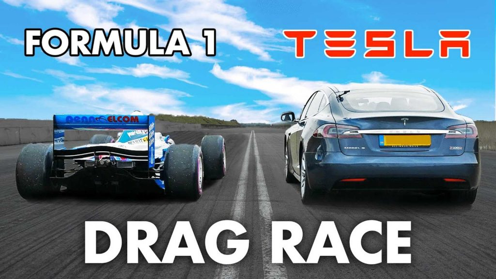 The video shows the incredible acceleration race between the Tesla Model S and the V10 Formula 1