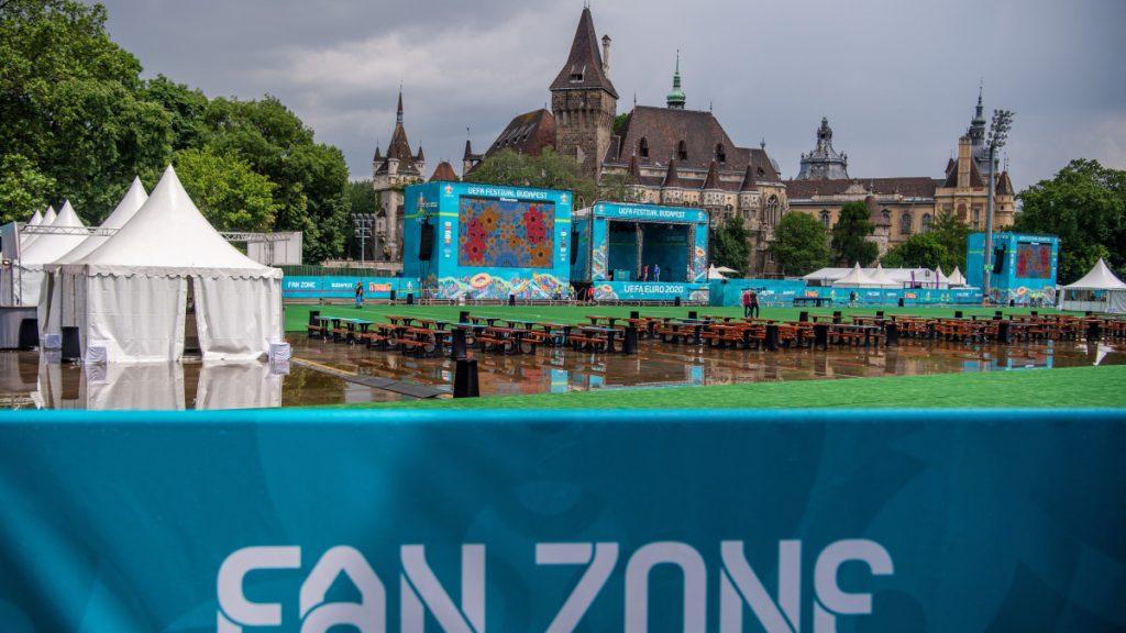 A labdarúgó Európa-bajnokság hivatalos budapesti szurkolói zónája a Városligetben 2021. június 11-én.